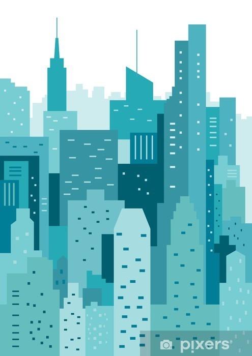 Afwasbaar Fotobehang Cityscape geometrische vector illustratie. Cityline. Landschap van de stad - Gebouwen en Architectuur