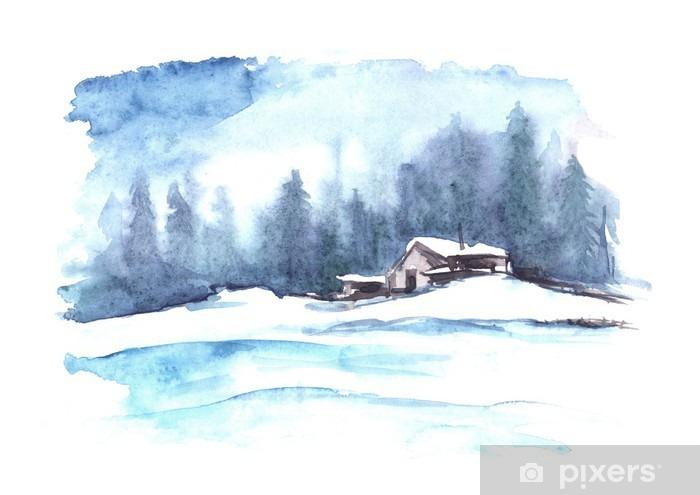 Naklejka Pixerstick Akwarela wzór zimy. Kraj krajobrazu. Obraz przedstawia dom, świerk, sosna, las, śnieg i zaspy. - Krajobrazy