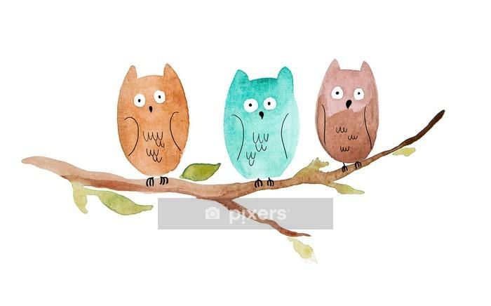 Duvar Çıkartması Bir dalı üzerinde oturan üç baykuş - Hayvanlar