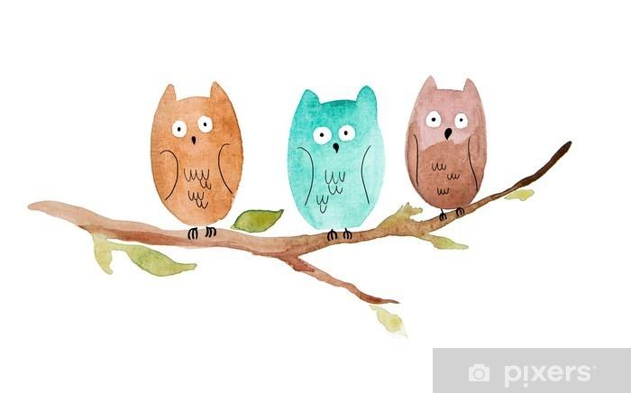 Nálepka Pixerstick Tři sovy sedí na větvi - Zvířata