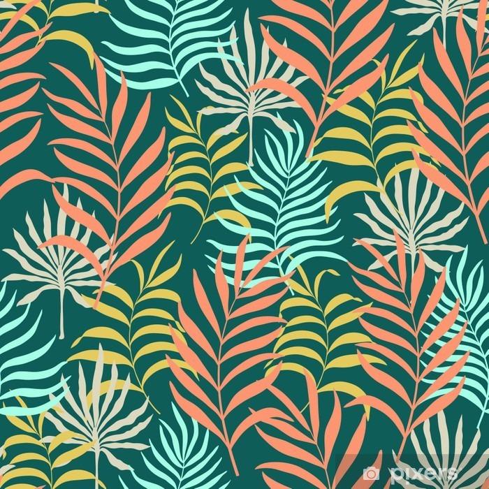 Fotomural Estándar Patrón sin fisuras con las hojas tropicales dibujadas a mano. - Plantas y flores