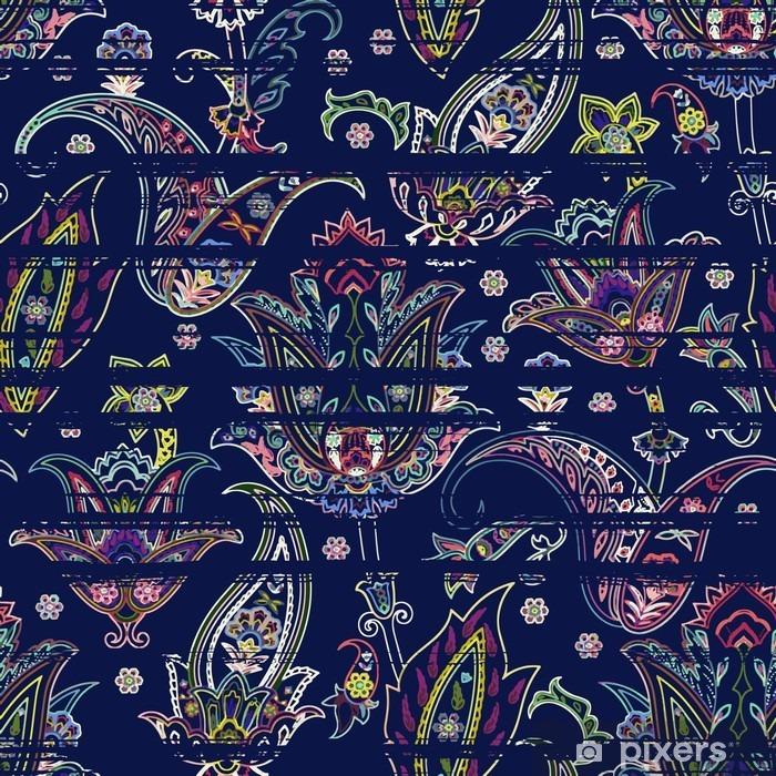 Papier peint vinyle Paisley Seamless sur fond gribouillis rayé. motif floral ethnique - Ressources graphiques