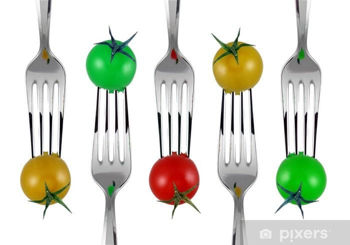 forchette e pomodorini colorati Pixerstick Sticker - Kitchen