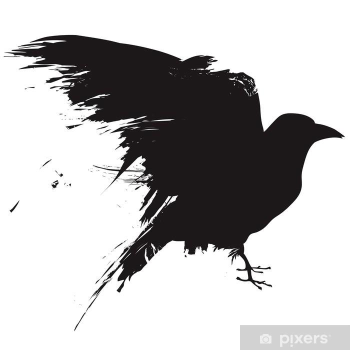 Carta da Parati in Vinile Vector corvo o corvo in stile grunge - Adesivo da parete