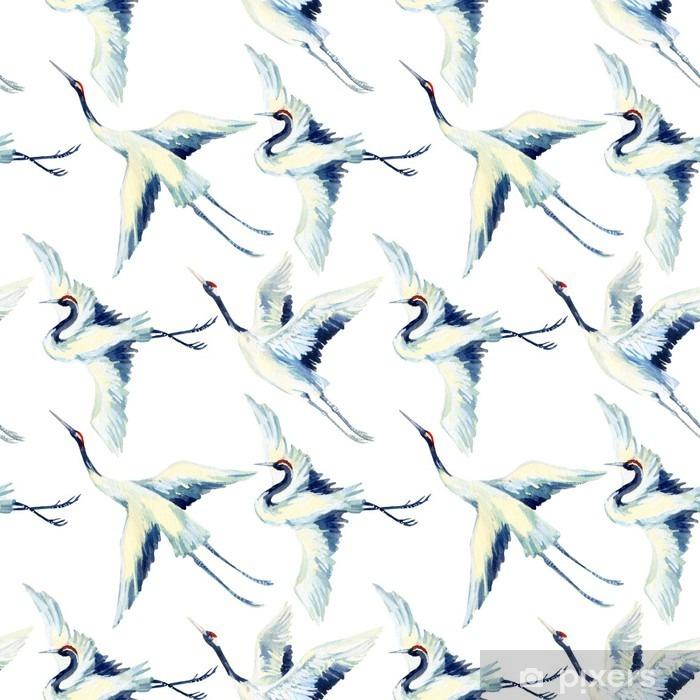Pixerstick Aufkleber Aquarell asiatischen Kran Vogel nahtlose Muster - Tiere