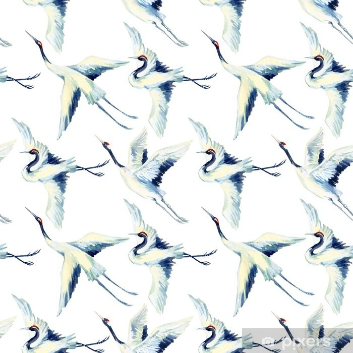 Sticker Pixerstick Aquarelle asiatique grue oiseau seamless - Animaux