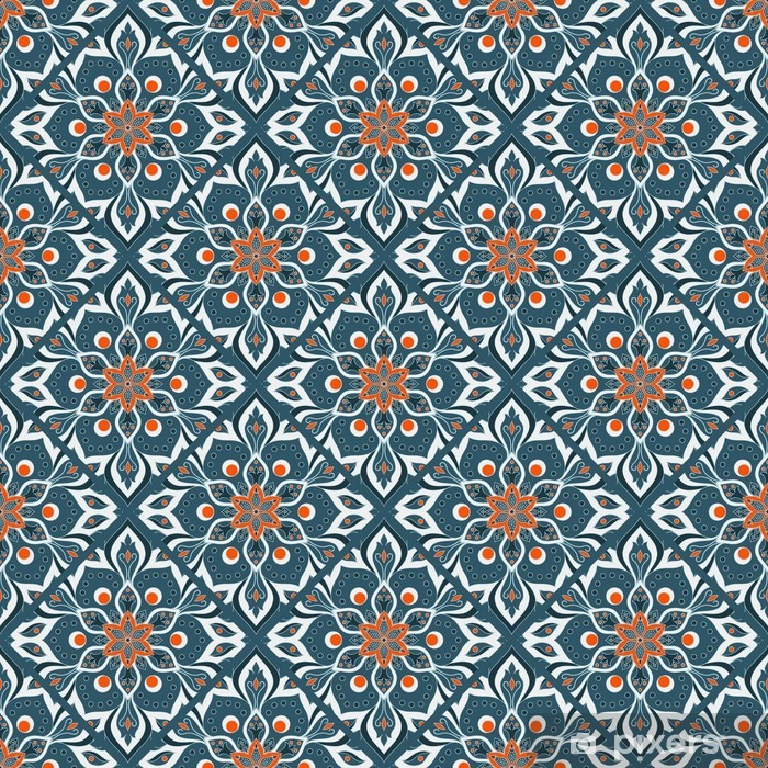 Pixerstick Aufkleber Nahtlose Hand Mandala-Muster gezeichnet. - Grafische Elemente