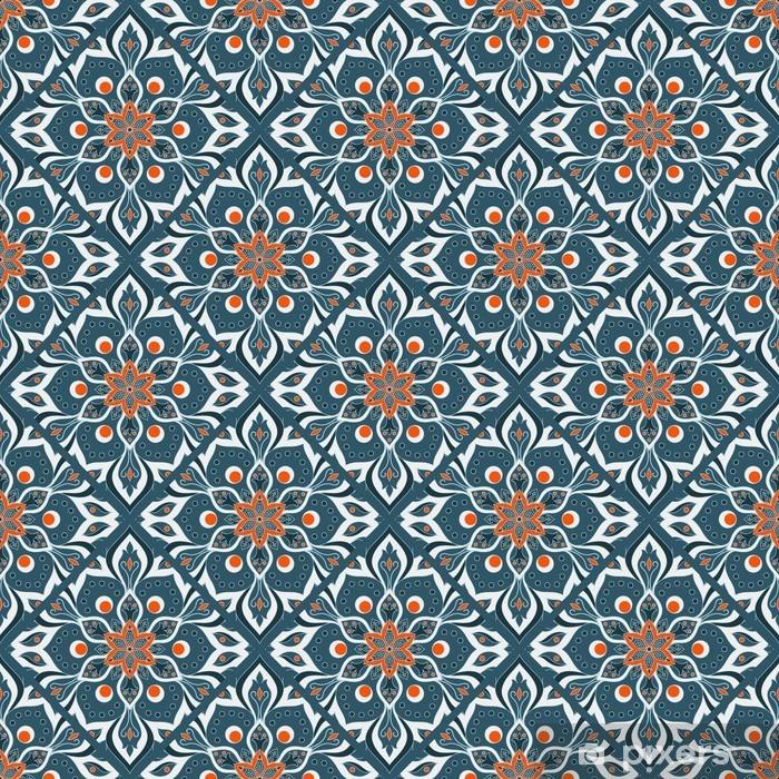 Pixerstick Sticker Naadloze hand getekende mandala patroon. - Grafische Bronnen