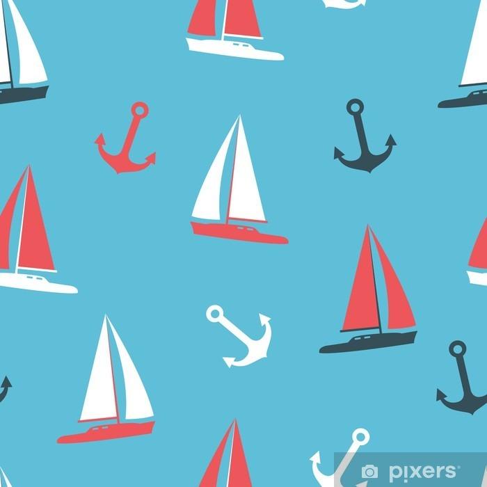 Plakat Zestaw ilustracji wektorowych sylwetki jachtów i kotwiczne - Krajobrazy