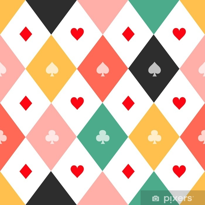Colorful Card Suits Chess Board Diamond Background Vector Illustration   Wall Mural - Vinyl