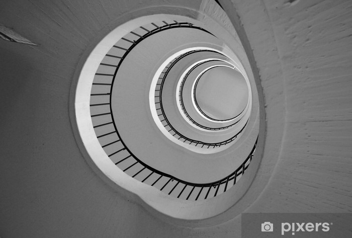 Round Staircase View From The Bottom In Black And White Wall Mural   Vinyl
