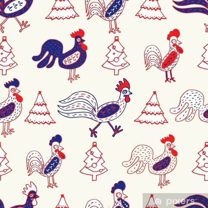 Koelkaststicker Grappig hanen, naadloze vector patroon - Religie en Cultuur