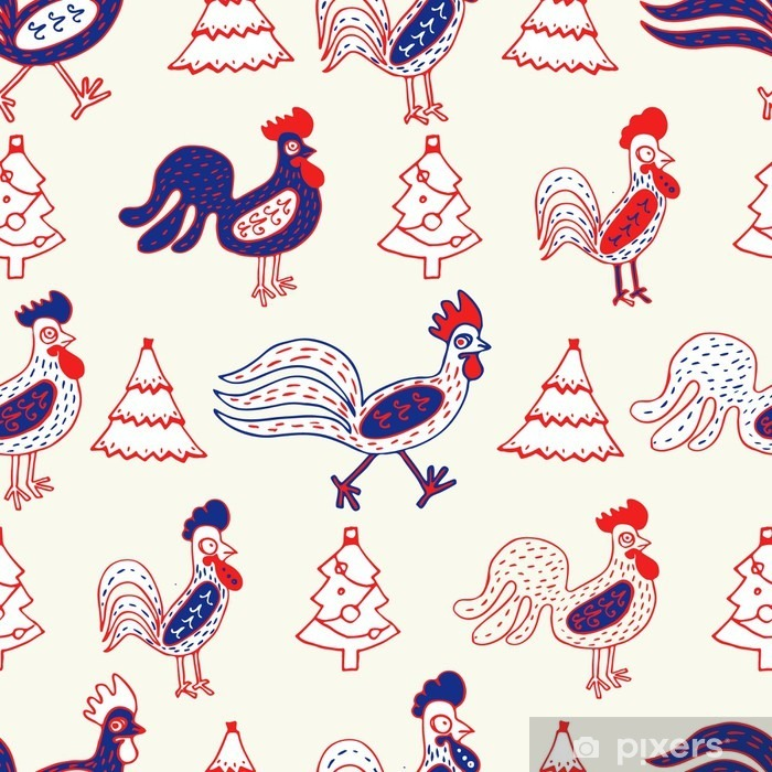 Funny roosters, seamless vector pattern Vinyl Wall Mural - Culture and Religion
