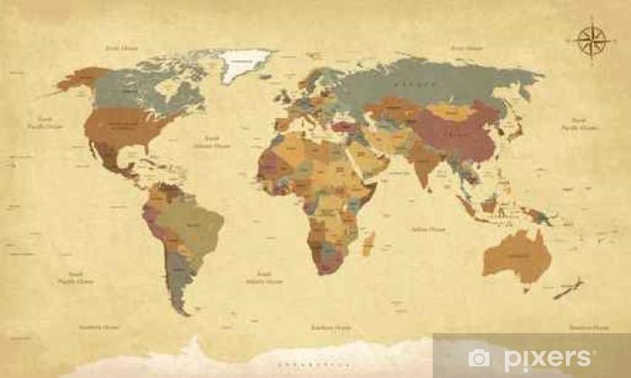Pixerstick Sticker Gestructureerde vintage kaart van de wereld - Engels / Amerikaanse Labels - Vector CMYK - Reizen
