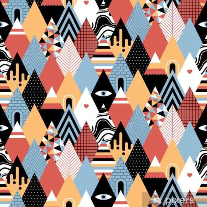 Seamless geometric pattern in flat style with growing triangles/mountains. Useful for wrapping, wallpapers and textile. Pixerstick Sticker - Graphic Resources
