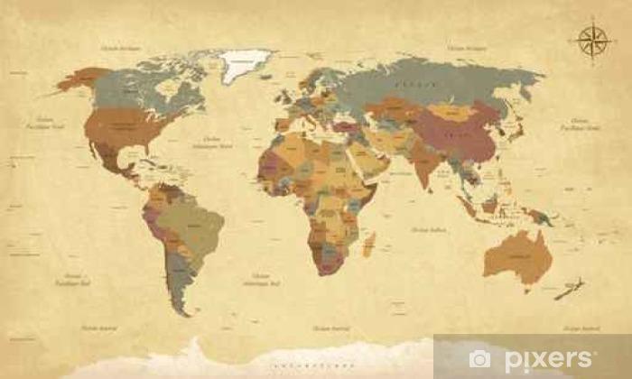 Papier peint vinyle Planisphère Mappemonde Vintage - Textes en français. vecteur CMJN - Voyages