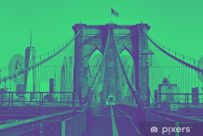 Brooklyn Bridge with flag on top. Duotone style. Vinyl Wall Mural - Travel