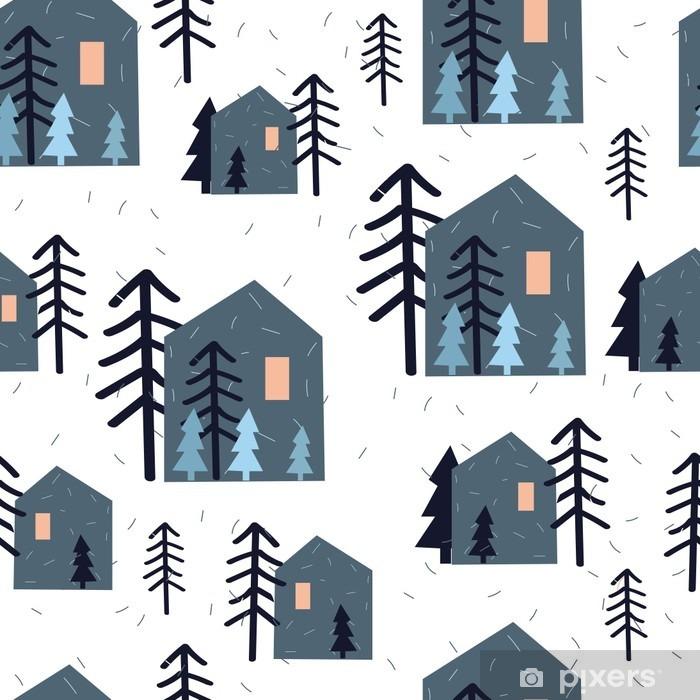 Naklejka Pixerstick Słodkie szwu z domów, choinek i śnieg na białym tle. Boże Narodzenie papier pakowy. Ręcznie rysowane ilustracji wektorowych. Dzieci tekstury. - Zasoby graficzne