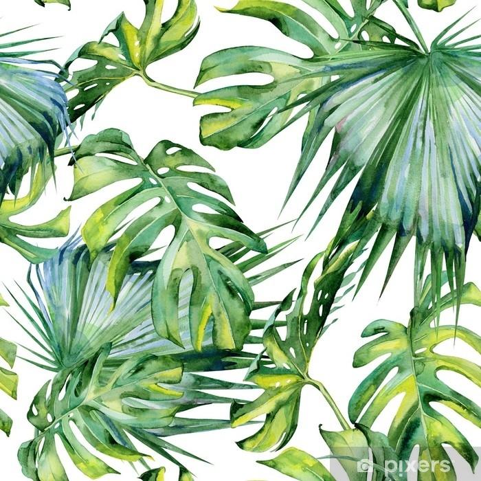 Mural de Parede em Vinil Ilustração sem costura de aquarela de folhas tropicais, selva densa. pintado à mão. banner com motivo de verão tropico pode ser usado como textura de fundo, papel de embrulho, design têxtil ou papel de parede. - Plantas e Flores