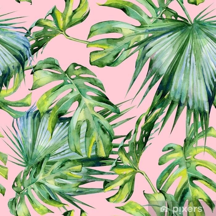 Seamless watercolor illustration of tropical leaves, dense jungle. Hand painted. Banner with tropic summertime motif may be used as background texture, wrapping paper, textile or wallpaper design. Vinyl Wall Mural - Plants and Flowers