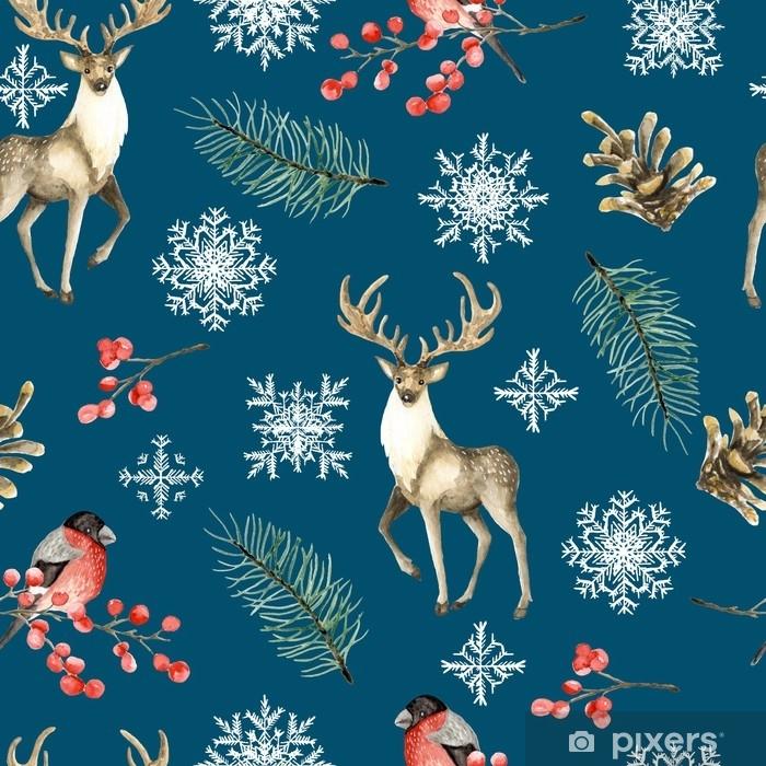 Plakat Bezszwowe Boże Narodzenie wzór z jelenia i gile. rysowane ręcznie akwarela - Religia i kultura