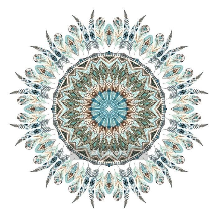 Veggklistremerke Akvarell etnisk fjer abstrakt mandala. - Grafiske Ressurser