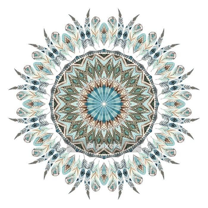 Watercolor ethnic feathers abstract mandala. Wall Decal - Graphic Resources