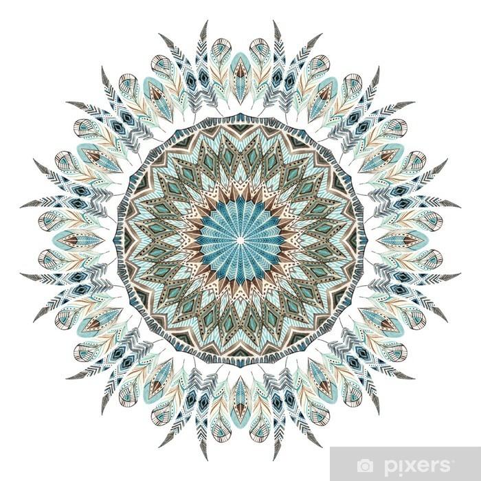 Sticker Pixerstick Aquarelle plumes ethniques mandala abstrait. - Ressources graphiques
