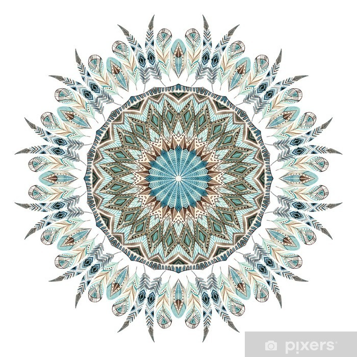 Pixerstick Sticker Watercolor etnische veren abstract mandala. - Grafische Bronnen