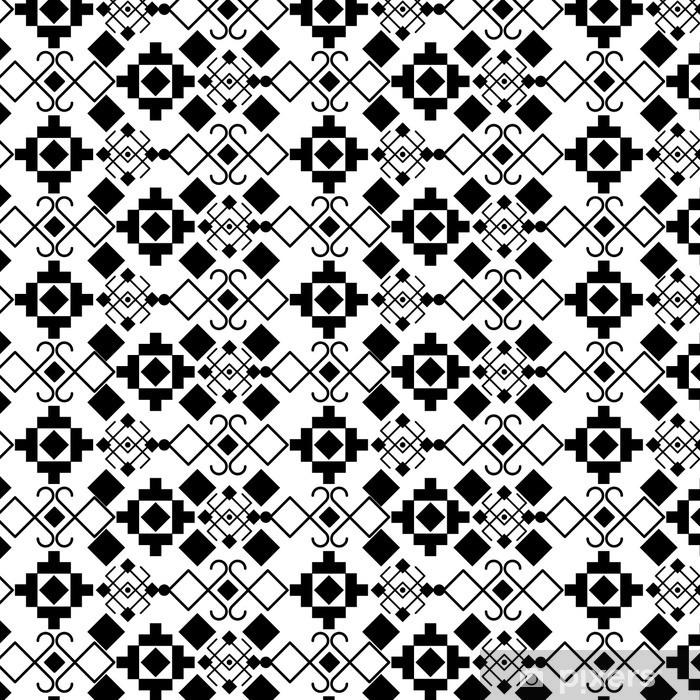 Naklejka na lodówkę Boho stylu czarno-białe tło projektu. Bohemic dekoracji i rocznika wzór tapety tematem. ilustracji wektorowych - Zasoby graficzne