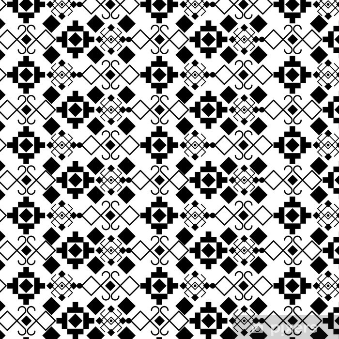 Boho style black and white background design. Bohemic decoration vintage pattern and wallpaper theme. Vector illustration Pixerstick Sticker - Graphic Resources