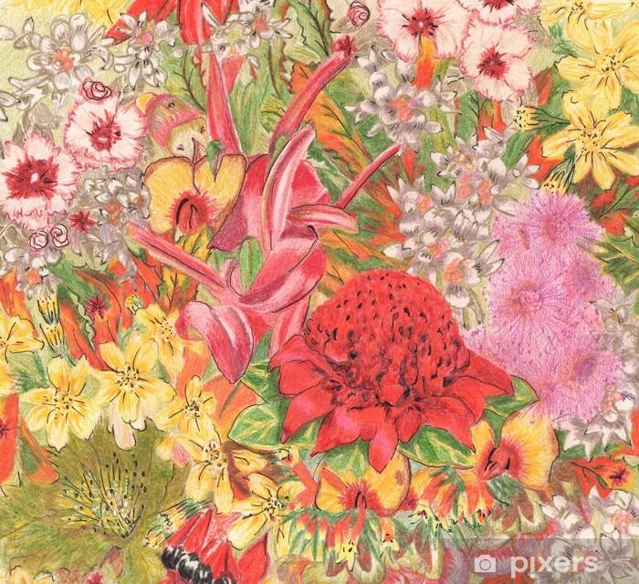 Plakat Dzikie kwiaty. Australijscy tubylcy. Colorfu rysunek ołówkiem. - Rośliny i kwiaty