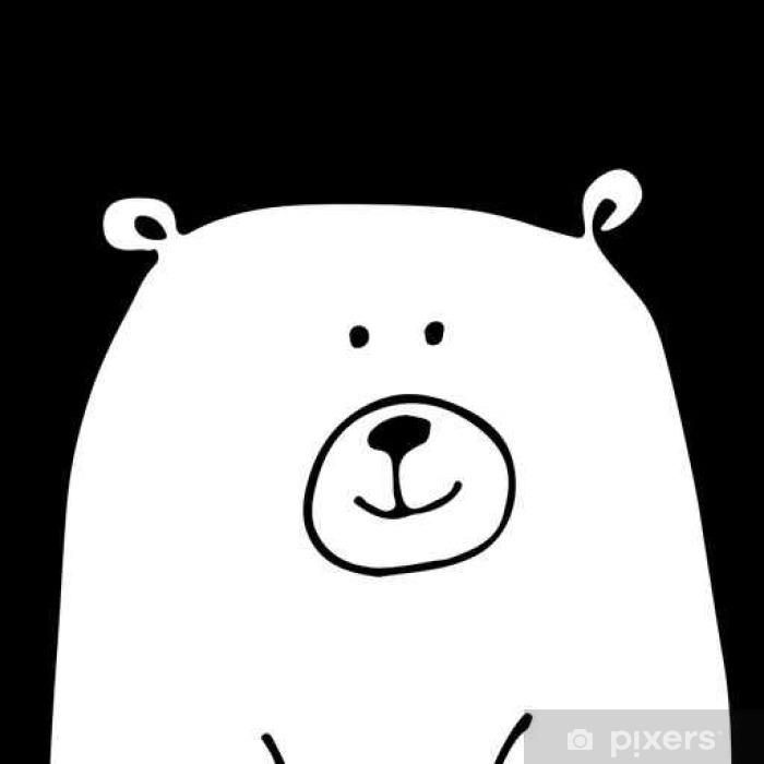 Plakat Biały miś, szkic do projektowania - Zwierzęta