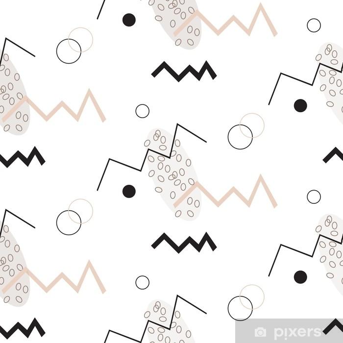 Naklejka Pixerstick Bezszwowy geometryczny wzór. minimalistyczny nowoczesny styl. abstrakcyjne góry. zygzak. to jest czarno-białe i nagie kolory. - Zasoby graficzne