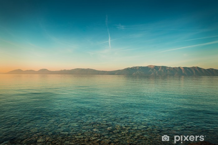 Peaceful Landscape With Sea And Hills Before Sunrise Wall