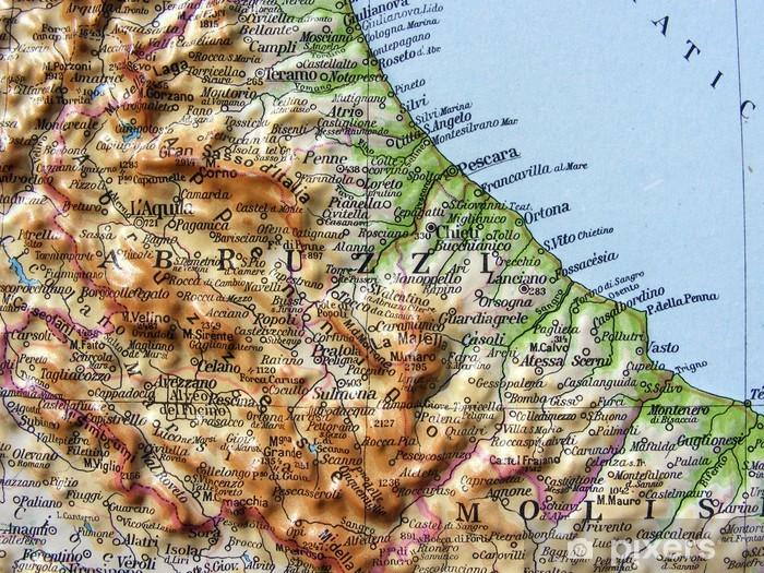 Cartina Dettagliata Dell Abruzzo.Carta Geografica Dell Abruzzo E Del Molise Wall Mural Vinyl