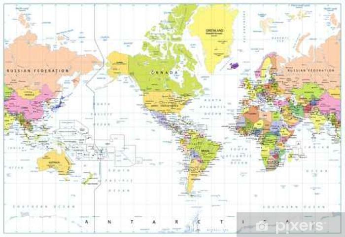 Fotomural Estándar Centrado América del mapa político del mundo aislado en blanco - Recursos gráficos