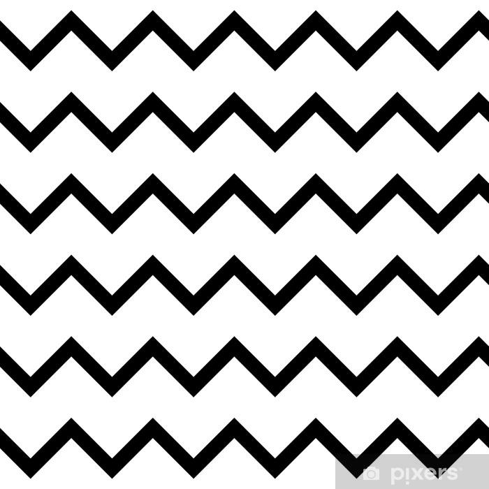 Tvättbar Fototapet Zigzag chevron sömlösa mönster bakgrund i svart och vitt. retro vintage vektor design. - Grafiska resurser
