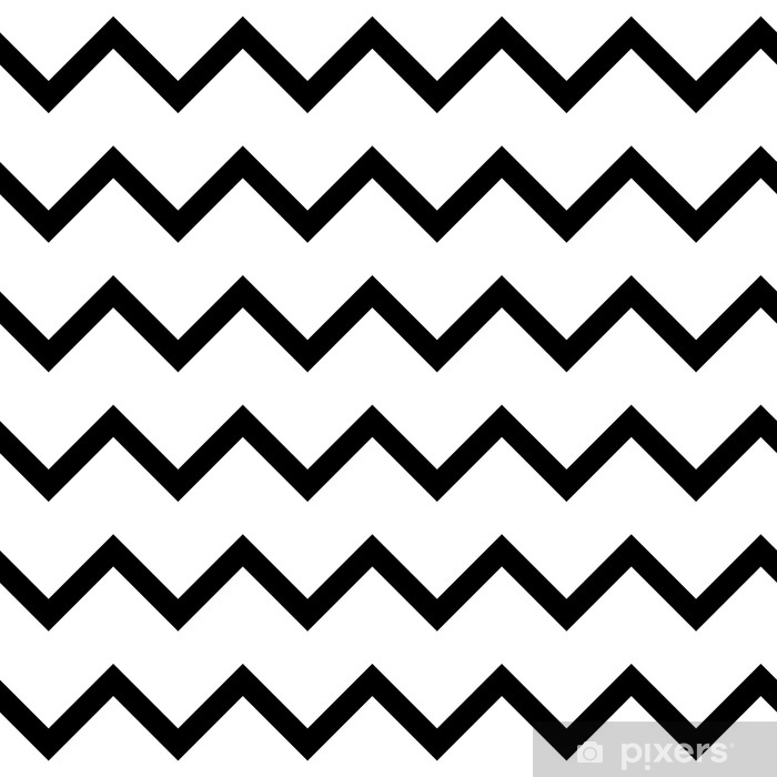 Zigzag chevron seamless pattern background in black and white. Retro vintage vector design. Washable Wall Mural - Graphic Resources