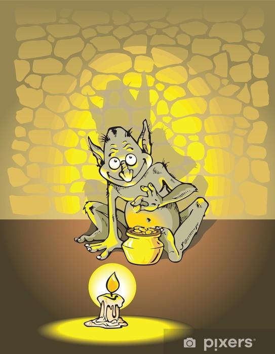 Papier peint vinyle Greedy troll comptage des pièces d'or dans le donjon, vecteur - Esotérisme