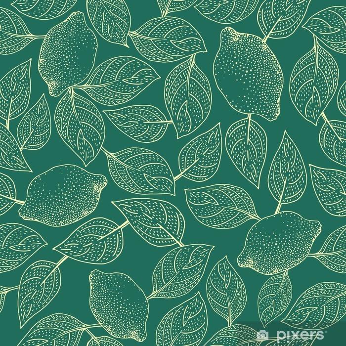 Zelfklevend Fotobehang Naadloze vector patroon met citroen Leaves - Eten