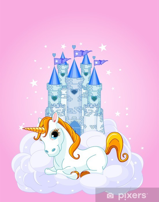 Fototapeta winylowa Zamek i Unicorn - Dla ucznia