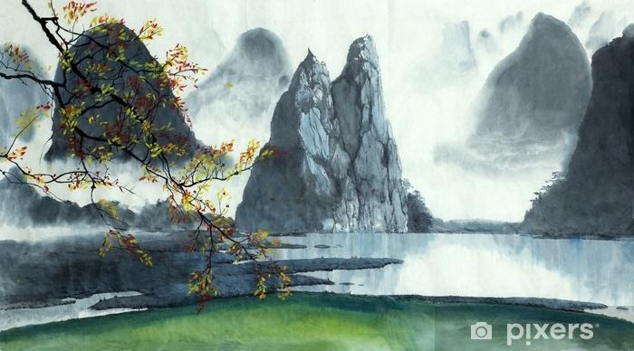 Papier peint vinyle Montagnes chinoises, brouillard, lac - Paysages