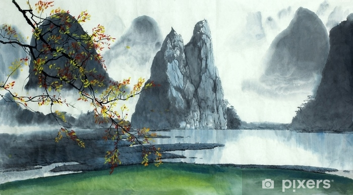Chinese mountains, fog, lake Self-Adhesive Wall Mural - Landscapes