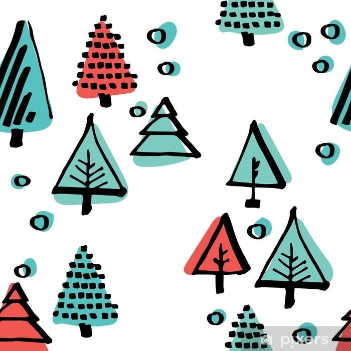 Naklejka Pixerstick Ręcznie rysowane wzór, wzór skandynawski wykonane czarnym tuszem minimalistycznych ornament okręgi, drzewa, gwiazdy - Religia i kultura