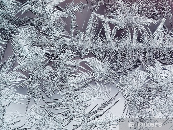 Naklejka Pixerstick Piękny zimowy mroźny wzór wykonany z przezroczystego kruchych kryształów na szybie - Zasoby graficzne