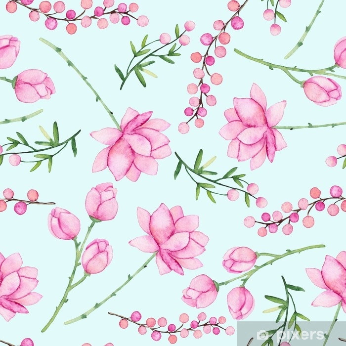 Watercolor Seamless Pattern With Delicate Pink Flowers And Berries