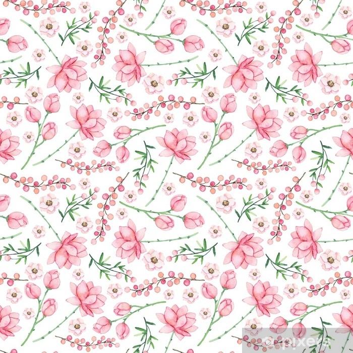 Vinyl Fotobehang Zachte naadloze patroon met aquarel roze bloemen en bessen - Bloemen en Planten
