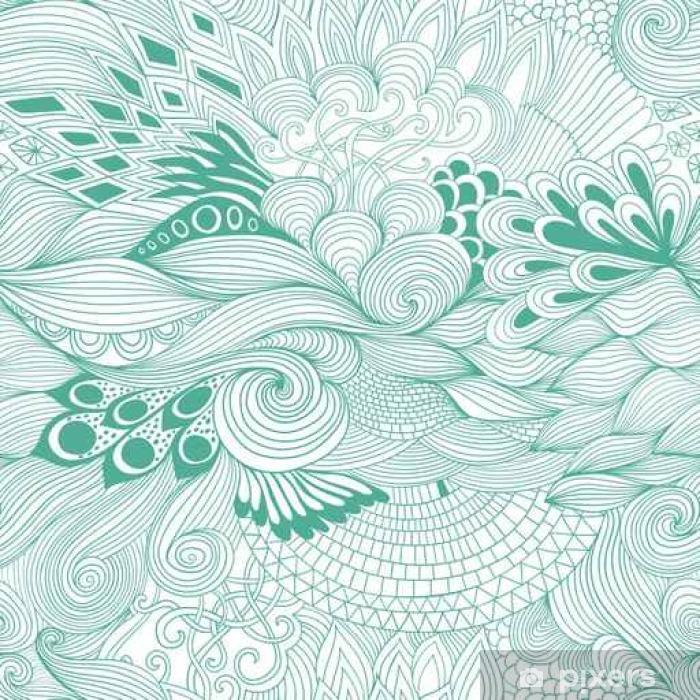Fototapeta samoprzylepna Jednolite abstrakcyjny wzór tła z kolorowym ornamentem. Rysowania ilustracja, kolorowanka zentangle - Rośliny i kwiaty