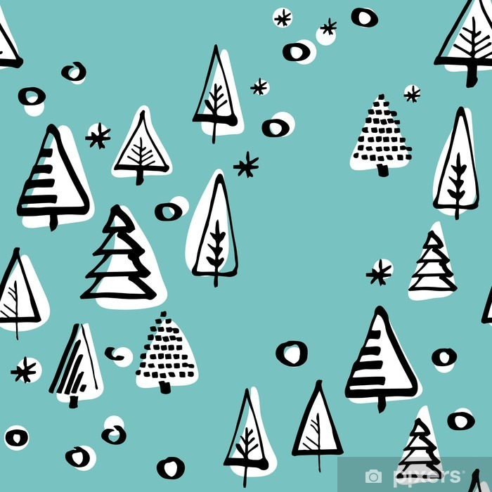 Scandinavian seamless pattern of Christmas tree vector hand-drawing graphics. Poster - Culture and Religion